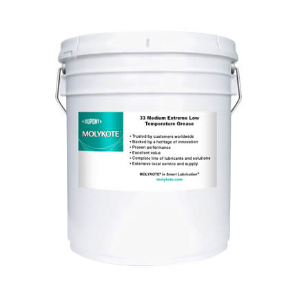 DuPont MOLYKOTE® 33 Extreme Low Temperature Bearing Grease, Medium, Off-White 18 kg Pail