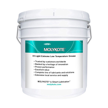 DuPont MOLYKOTE® 33 Extreme Low Temperature Bearing Grease, Medium, Off-White 3.6 kg Pail