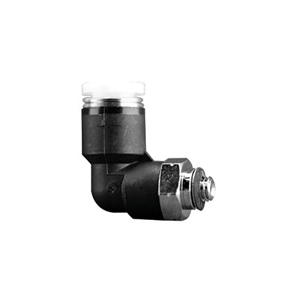 Fisnar 561964 Elbow Push Connector Black 0.25 in O.D. x M5 Male