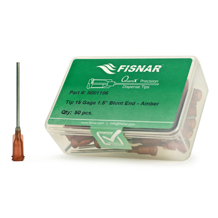 Fisnar QuantX™ 8001106 Straight Blunt End Needle Amber 1.5 in x 15 ga