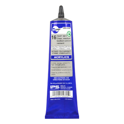 IPS Corp. SCIGRIP 16 Acrylic Plastic Cement, Solvent Based Adhesive Clear 5 oz Tube