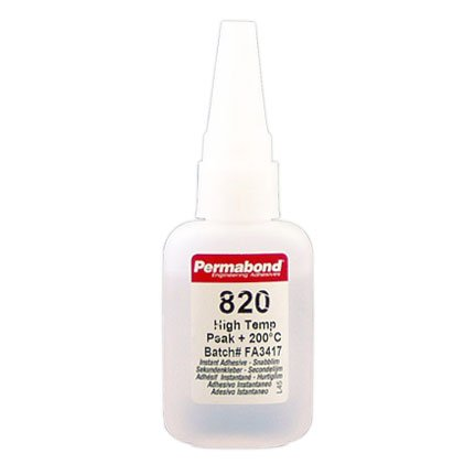 Permabond 820 High Temp Resist Cyanoacrylate Adhesive Clear 1 oz Bottle
